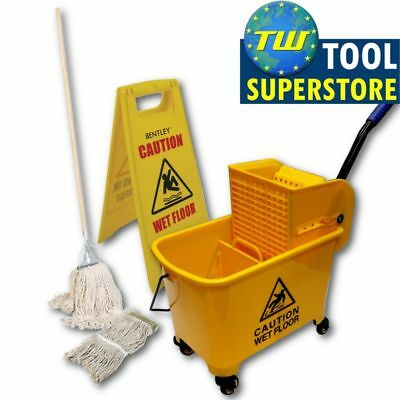 Professional Commercial Industrial Kentucky Mop Bucket 2x Heads & Cleaning Sign