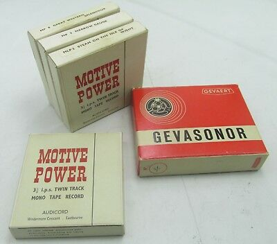 4 x MOTIVE POWER VINTAGE 1960s MONO TAPE REELS RAILWAY ISLE OF WIGHT GWR ETC +1