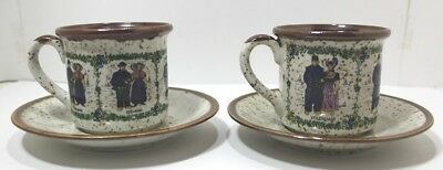 Rare Vintage 2 Cups And Saucers Netherlands Zeeland And Volendam Dutch Stoneware