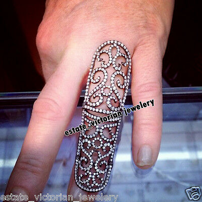 Retro Vintage 4.88Cts Natural Pave Rose Cut Diamond Sterling Silver Ring Jewelry