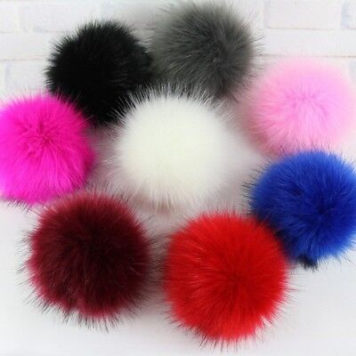 Faux Fox Fur Pom Pom with Press Button Fake Fur Hat Bubble Removable Pom Ball