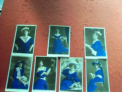 7  Old Postcards Actresses All wearing Blue Dresses