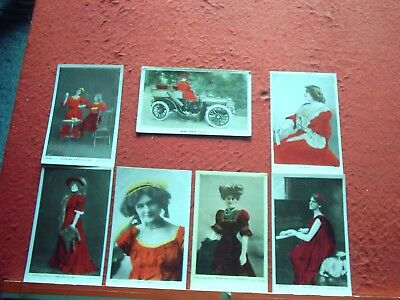 7  Old Postcards Actresses All wearing Red Dresses