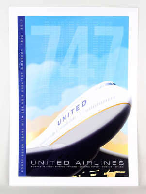 "Ja063 United Airlines Boeing 747 Tribute Poster Art Print 14"" X 20"""
