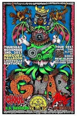 Colored Gwar poster, artist Jeff Zerin Gwart, signed and numbered, only 50
