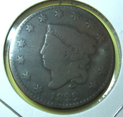 1822 Large Cent Coronet Head. Nice Collectible Grade