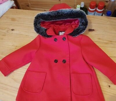 Girls red F&F coat with faux fur trim hood 2-3