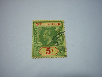 SAINT LUCIA-USED-SCOTT #72-5shilling-green&red/yellow--George5th--cv$85
