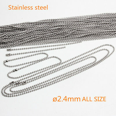 "Bead Ball Chain Stainless Steel  Necklaces Ballchain 2.4mm 4"" to 42"" 10 -100PCS"