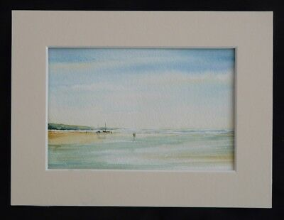 Original Watercolour of Figures and Boats on Beach by UK artist Roy Holmes