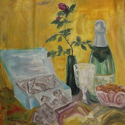 German expressionist oil painting still life, signed H. Purrmann