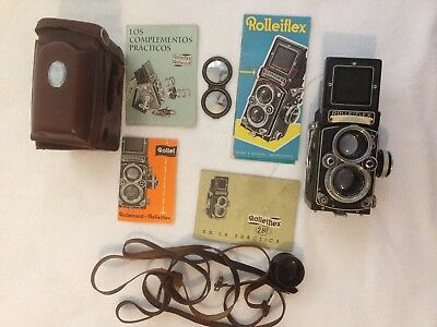 Rolleiflex 2.8E Vintage Camera W Leather Case & Manuals