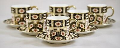 Royal Crown Derby Traditional Imari 2451 Coffee Cups/cans & Saucers X 6 1St