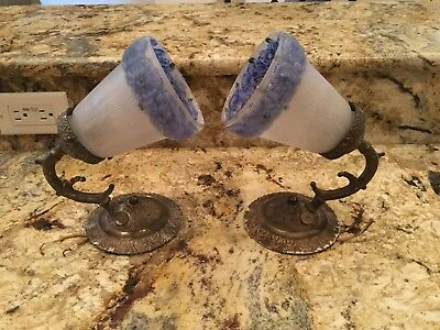 Rare Pair 1940s Vintage Solid Brass Blue reverse Paint Glass Shades Wall Sconces