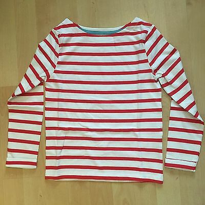 Boden Girls Breton Long Sleeve T-Shirt Red & White Striped Age 6-7 Years Bnwt