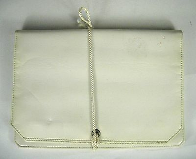 ROLFS Jewelry Carrying Bag White Leather Foldable Travel Folding Roll Pouch VTG