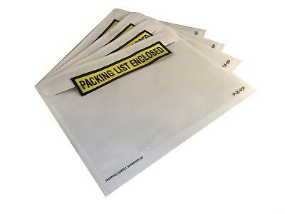 """100 Pack 6.75"""" x 5"""" Clear Packing List Enclosed Yellow Self Adhesive Envelopes"""