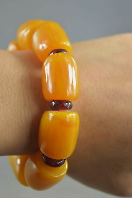 Collectable Handwork Decor Amber Carve Texture Glossy Bead Auspicious Bracelet