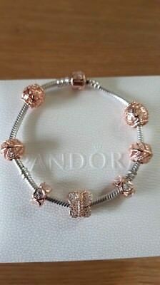 Genuine Pandora Silver Charm Bracelet With Rose Gold Clasp & Rose Gold Charms
