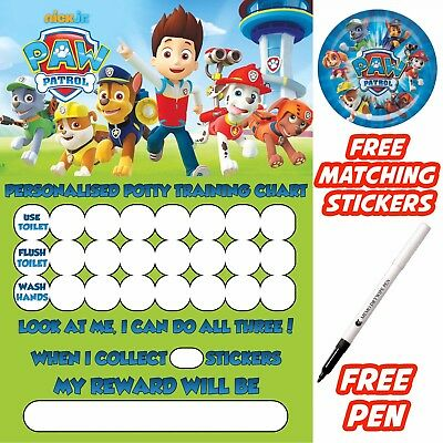 Child's Paw patrol Potty Training Toilet Reward Chart, stickers, pen. MAGNETIC
