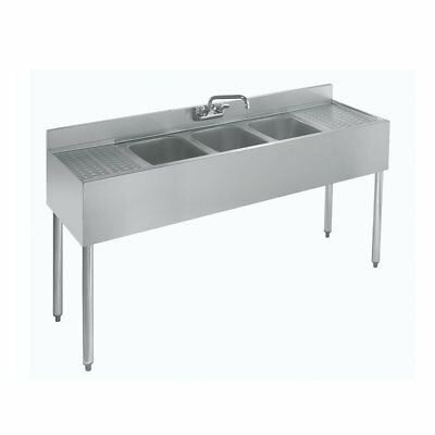 Stainless Steel 3 Compartment Under Bar Sink Left Right Drainboard 60 x 18.5