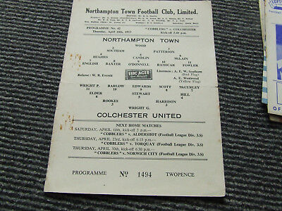 Northampton Town V Colchester United 1952-3 S/sheet Please Read Details