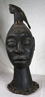 Antique African Hand Carved Wooden Sculpture Head
