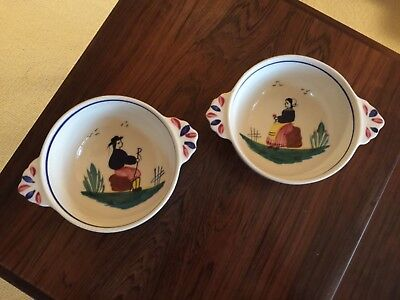 Pair of Quimper Cereal/soup Bowls with Peasant Man and Peasant Woman
