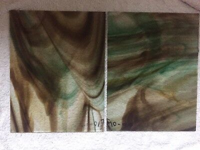 """2 Antique Hartley Woods Glass 10"""" x 8"""" Sheets."""