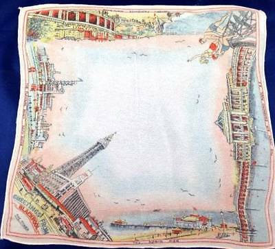 Vtg 1930s Printed Souvenir Handkerchief Hanky Blackpool Tower Pier Bathing Beaut