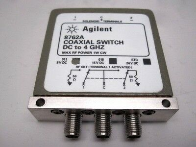Agilent / HP 8762A, DC to 4 GHz, 50 Ohm, 5V, SMA(F), SPDT Coaxial Relay