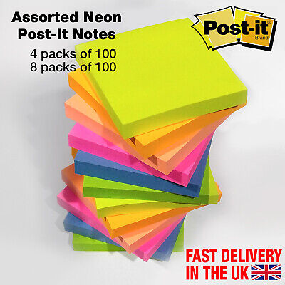 Assorted Neon Post It Notes, Removable Colour Sticky Paper Pad 76mm x 76mm
