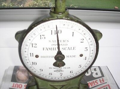 Antique Vintage Cast Iron Brass Salter Kitchen Family Scales No 50 14lbs Used