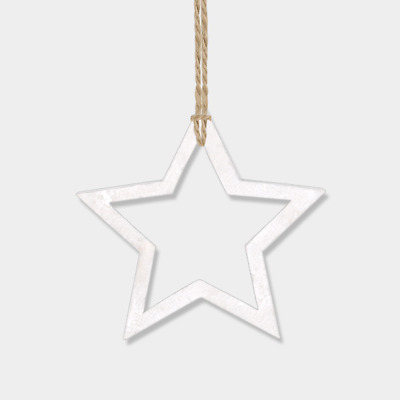 East Of India Christmas Decoration Hanging Outline Star White Wood Cute Rustic