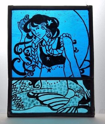 Stained Glass Painted Panel. Beautiful Mermaid. Sea Blue Glass. Handmade