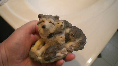 WOLF Family MOM & 2 BABIES Very DETAILED Resin CUTE Figurine