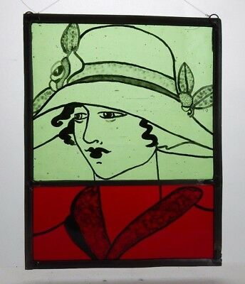 Stained Glass Painted Panel. Art Deco Style Lady. Red and Green Glass. Handmade