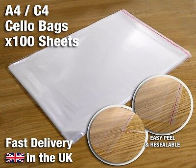 100 x A4 C4 Clear Cello Bags for Documents - Peel and Stick - Resealable