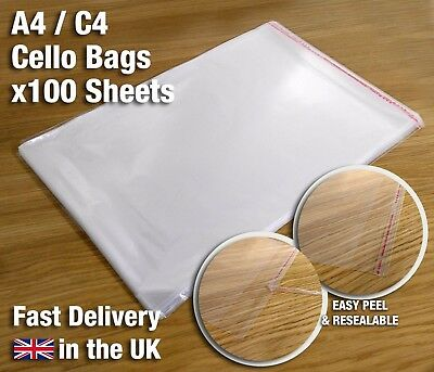 100 x A4 C4 Clear Cello Bags for Products - Peel and Stick - Resealable