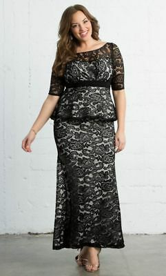 KIYONNA PLUS SIZE Dress Size 1X Black White Lace Gown Astoria Lace Peplum  Style