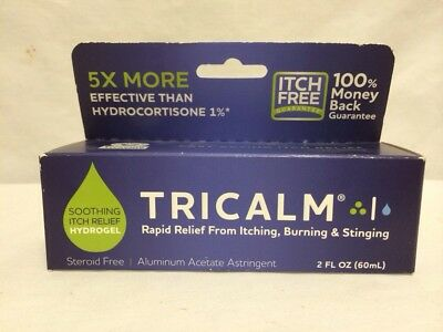Tricalm Hydrogel Itch  Burning & Stinging Relief Steroid Free 2 Oz  Exp 12/2017