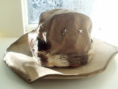 True Vintage Canvas USA Cowboy Hat 1934-1983 with Stars Studs & Feathers Size XL
