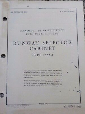 Technical Orders Runway Selector Cabinet Type 2558-1 Warbird Manuals Air Corps