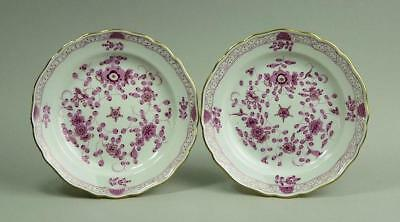 Fine Pair Of Meissen Purple Pink Indian Patt. Porcelain Side Plates