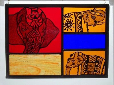Stained Glass Painted Panel. Indian Elephants. Bright Coloured Glass.