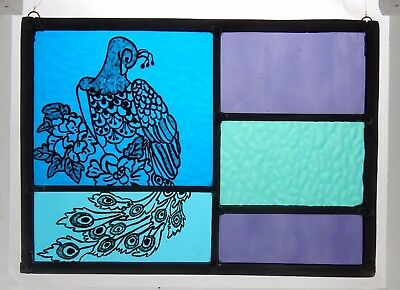 Stained Glass Painted Panel. Art Deco Style Peacock. Purple and Blue Glass