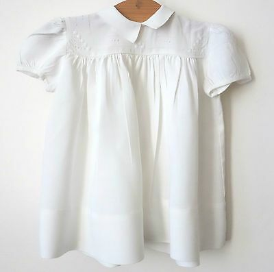 ROBE vintage 50-60 bébé brodée main luxe COTON French Baby dress état impeccable