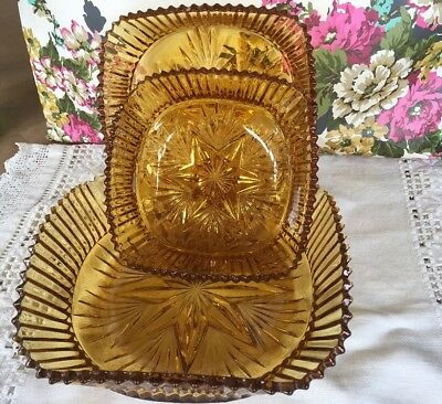 Vintage SOWERBY Art Deco Pressed Glass- AMBER ~3 GRADUATED BOWLS- Pattern 2455