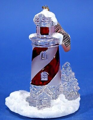 """Lighthouse Red & White Spiral Christmas Ornament Roman, Inc 2004 4"""" tall NEW"""
