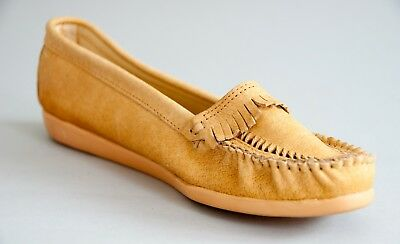 JORDACHE Fringe+TWISTED LEATHE MOCCASSINS Vtg 70s.80s NATURAL NUDE SO CUTE NWOB